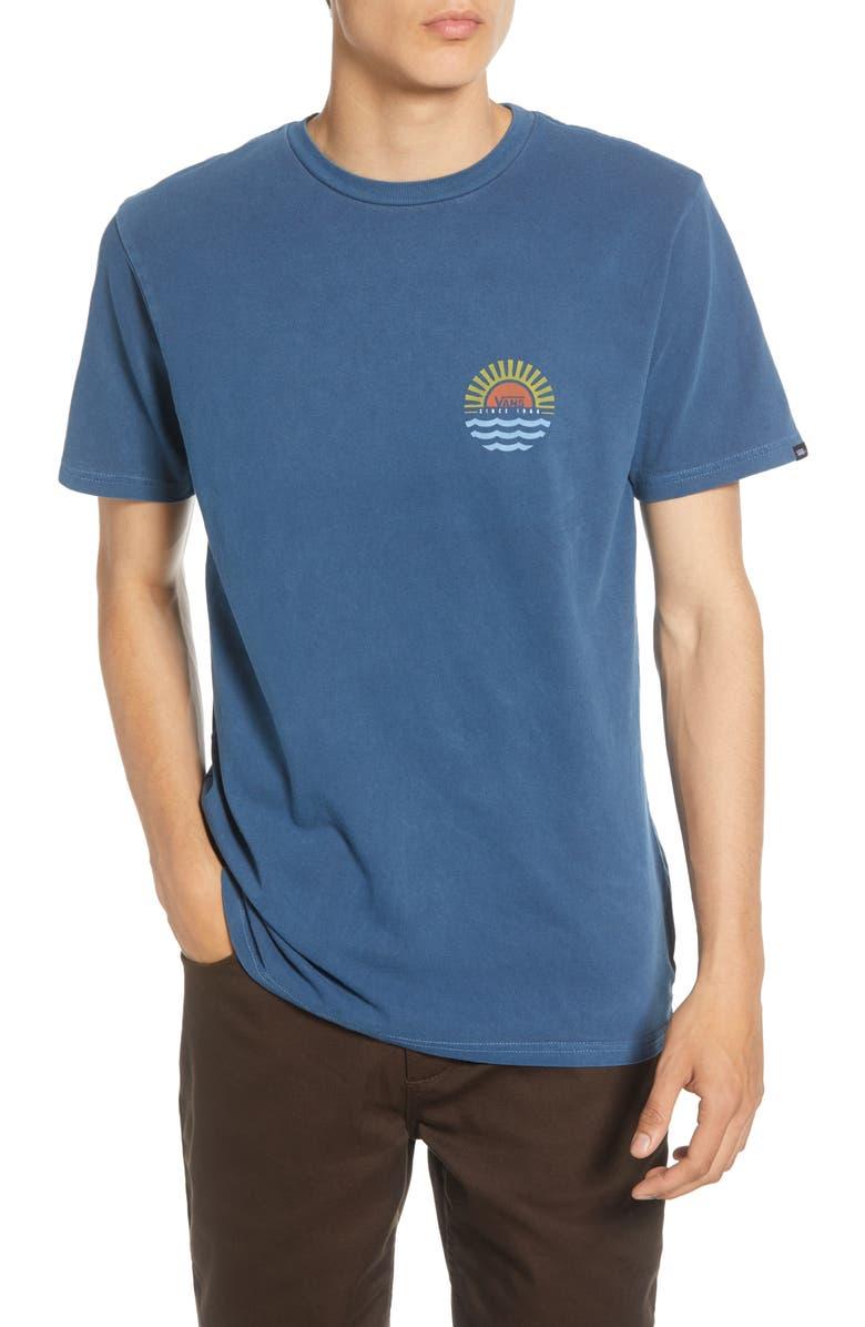 VANS Sunset Beach Crewneck T-Shirt, Main, color, GIBRALTAR SEA