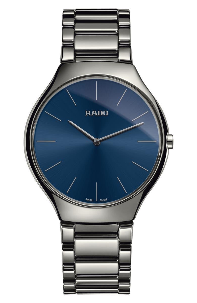 RADO True Thinline Ceramic Bracelet Watch, 39mm, Main, color, PLASMA/ BLUE/ PLASMA