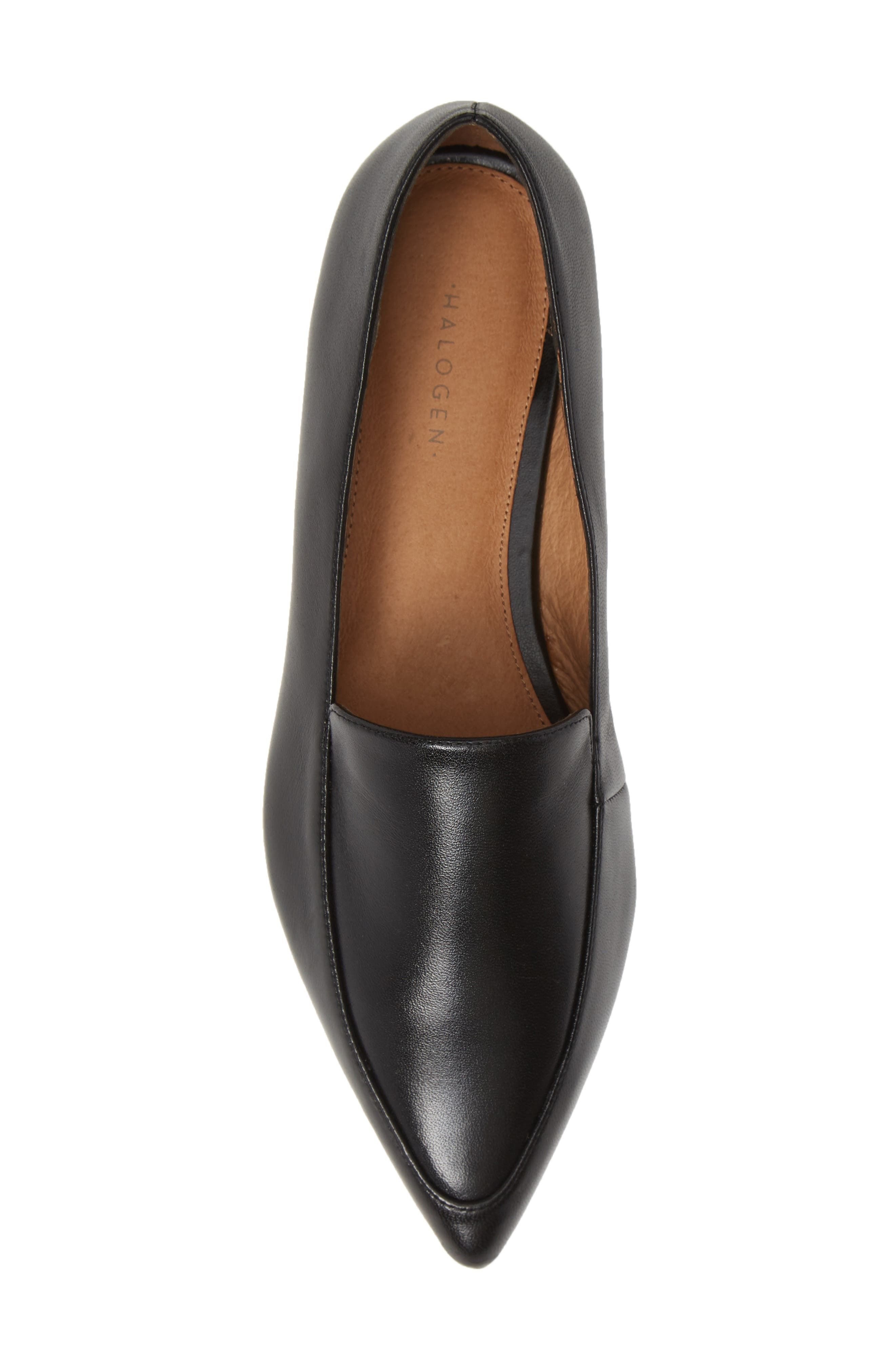 ,                             Kendra Pointy Toe Loafer,                             Alternate thumbnail 5, color,                             BLACK LEATHER