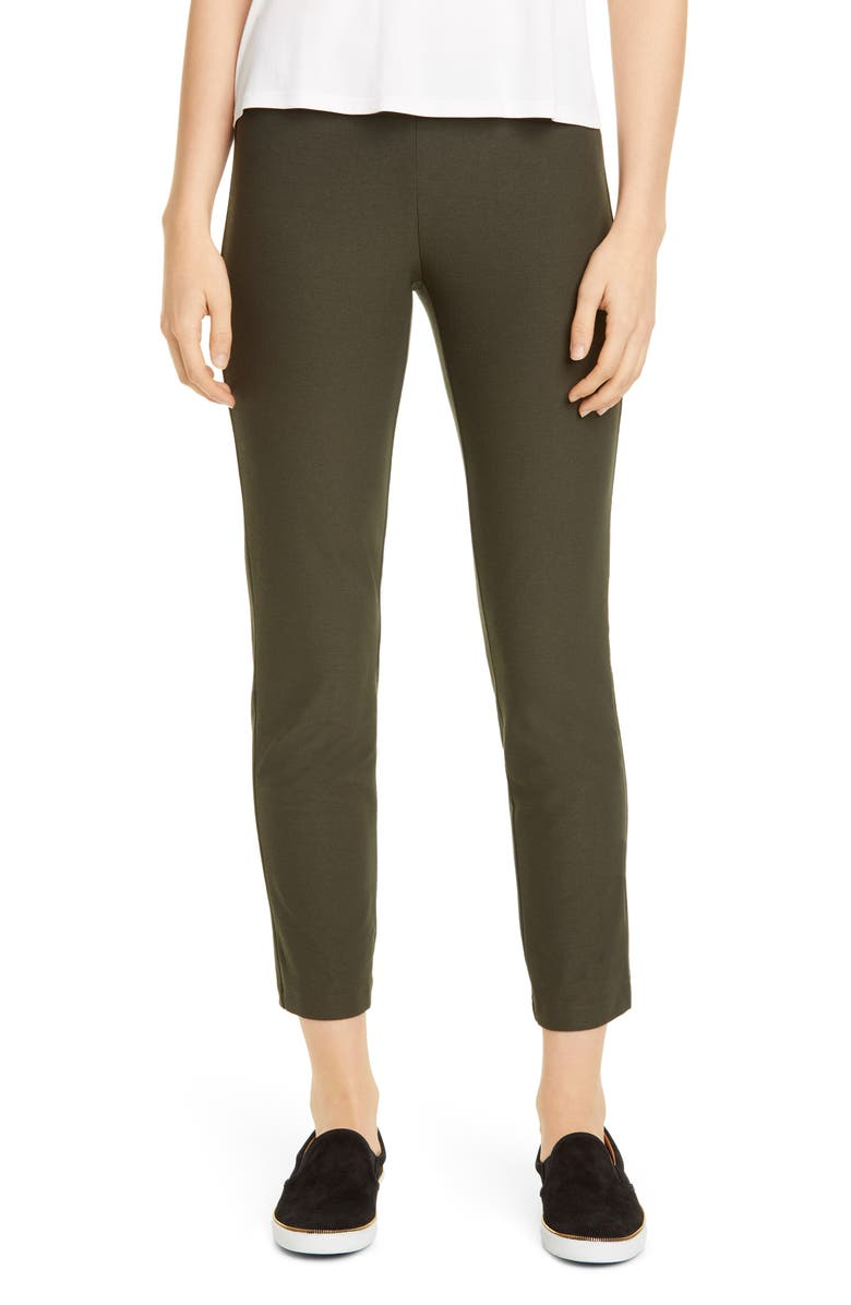 EILEEN FISHER Stretch Crepe Slim Ankle Pants, Main, color, WOODLAND