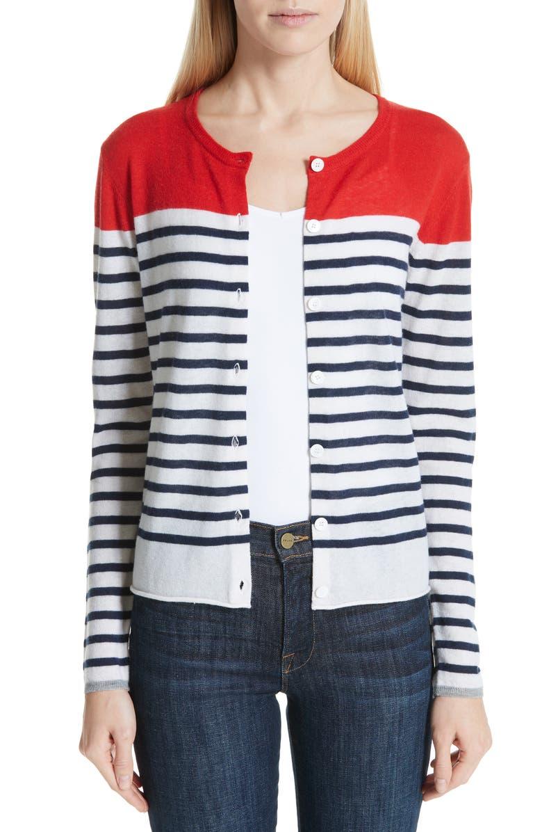 MAJESTIC FILATURES Stripe Cashmere Cardigan, Main, color, 600