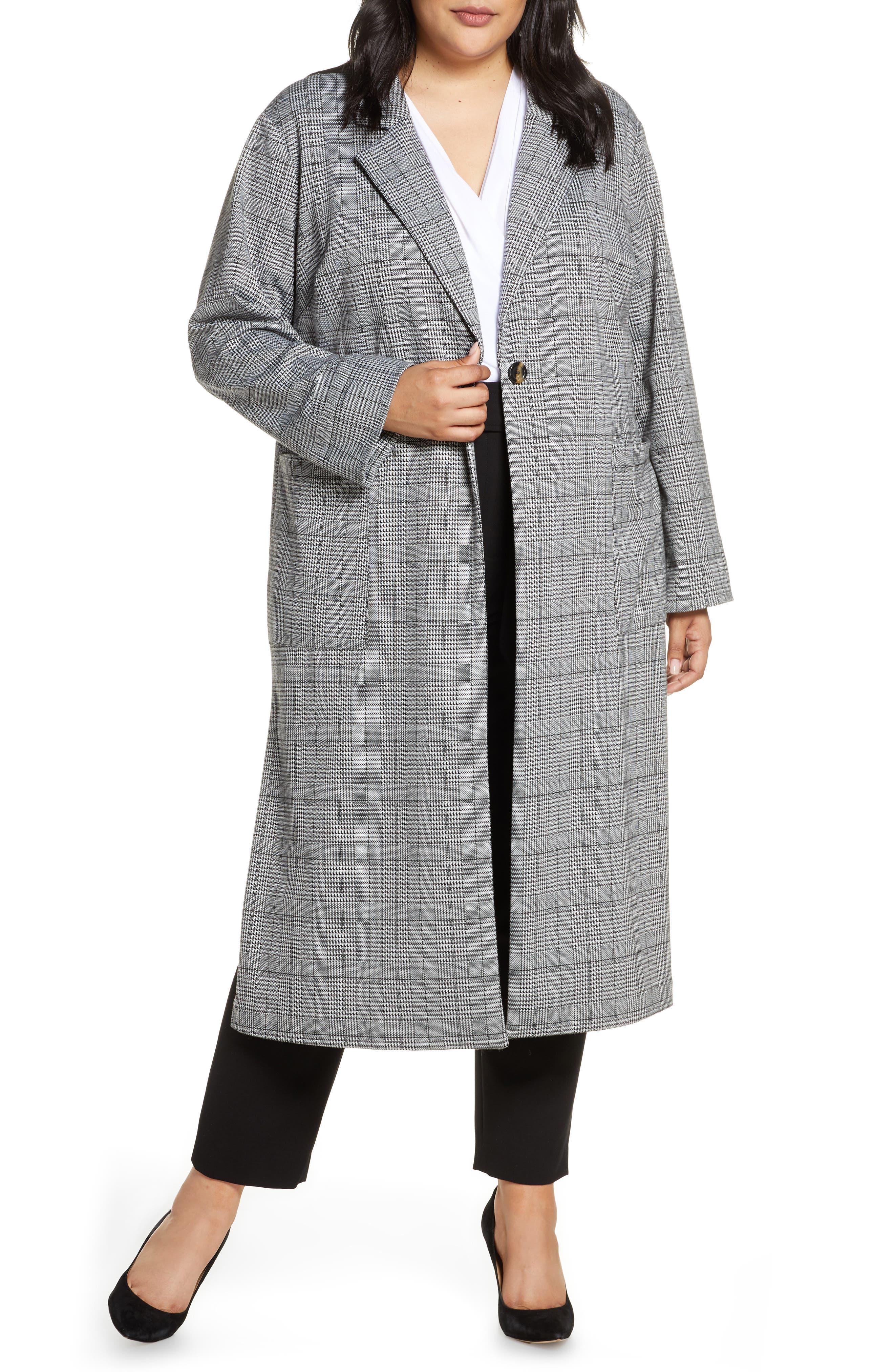 Vintage Coats & Jackets | Retro Coats and Jackets Plus Size Womens Sanctuary Timeless Plaid Duster Jacket $169.00 AT vintagedancer.com
