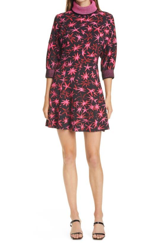 Tanya Taylor Charli Turtleneck Minidress In Pow Printed Ponte Black Multi