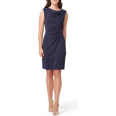 Tahari Sleeveless Stretch Metallic Sheath Dress, Blue
