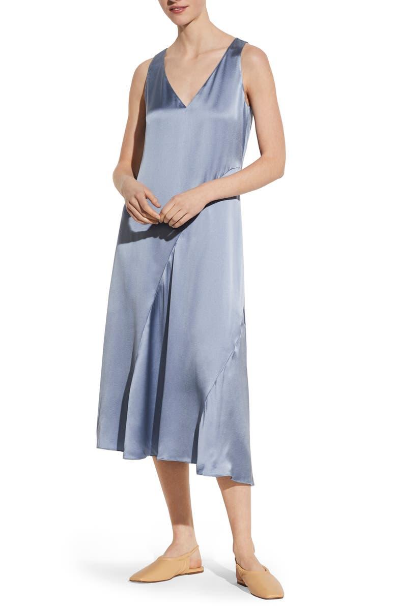 VINCE Seamed V-Neck Silk Sleeveless Dress, Main, color, SKY GRAPHITE
