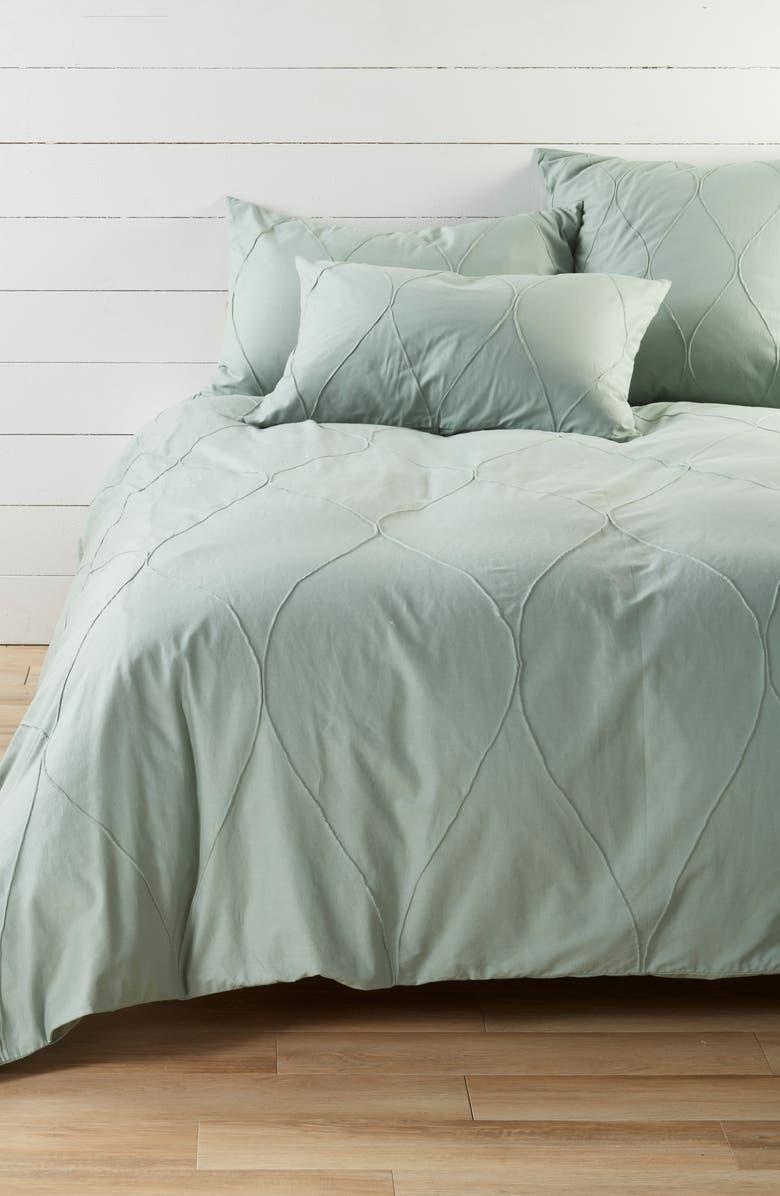 NORDSTROM AT HOME Pintuck Cotton Duvet, Main, color, GREEN ICEBERG