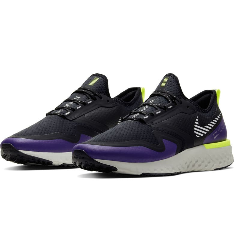 NIKE Odyssey React 2 Shield Water Repellent Running Shoe, Main, color, BLACK/ PURPLE/ VOLT/ SILVER
