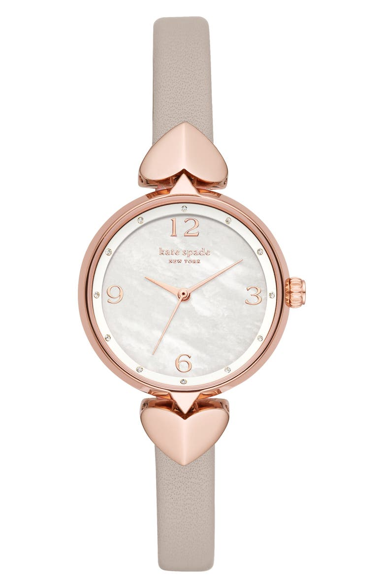 KATE SPADE NEW YORK hollis leather strap watch, 30mm, Main, color, GREY/ MOP/ ROSE GOLD