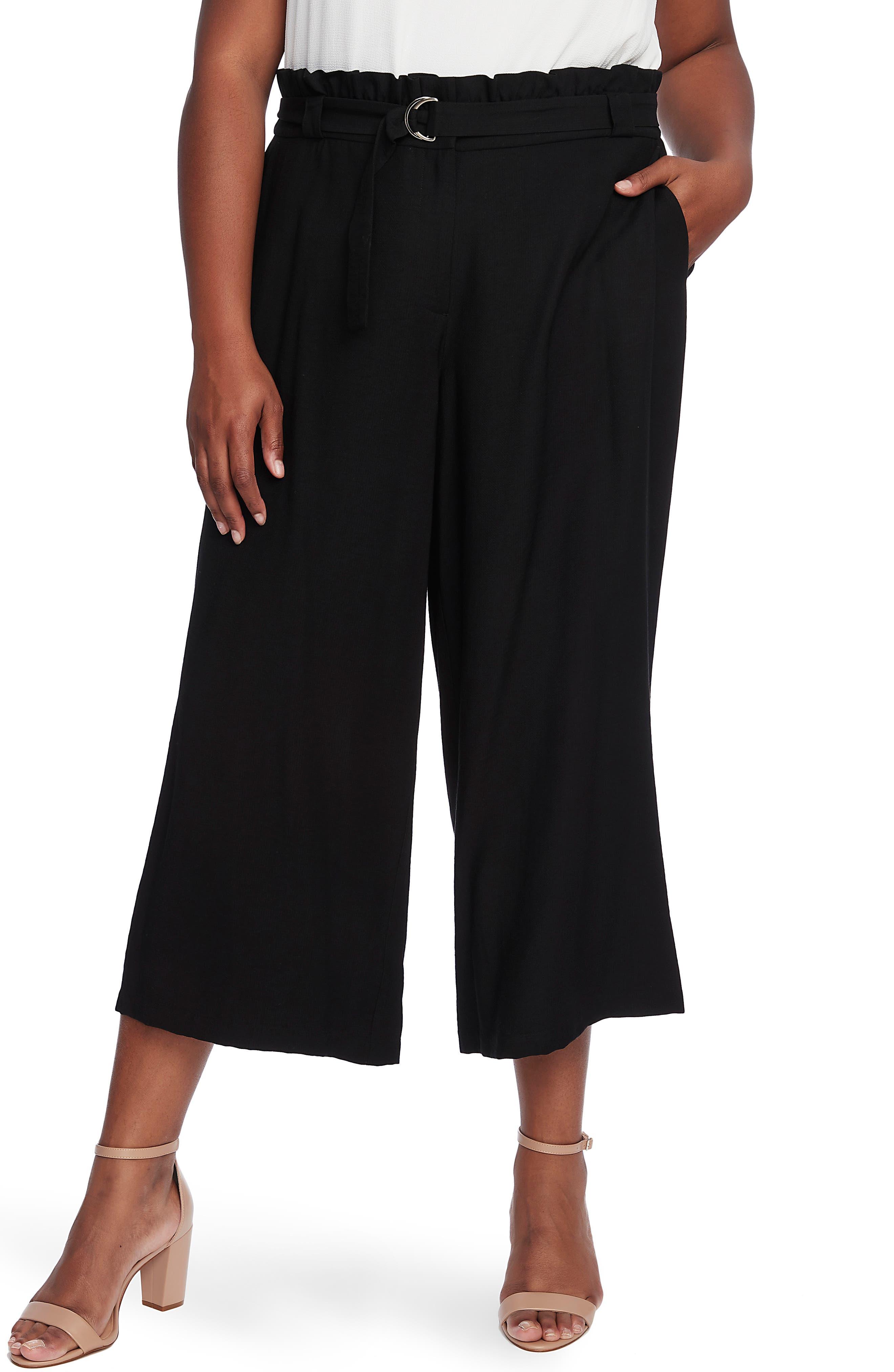 Plus  Women's Cece Paperbag Waist Rumple Wide Leg Crop Pants,  14W - Black