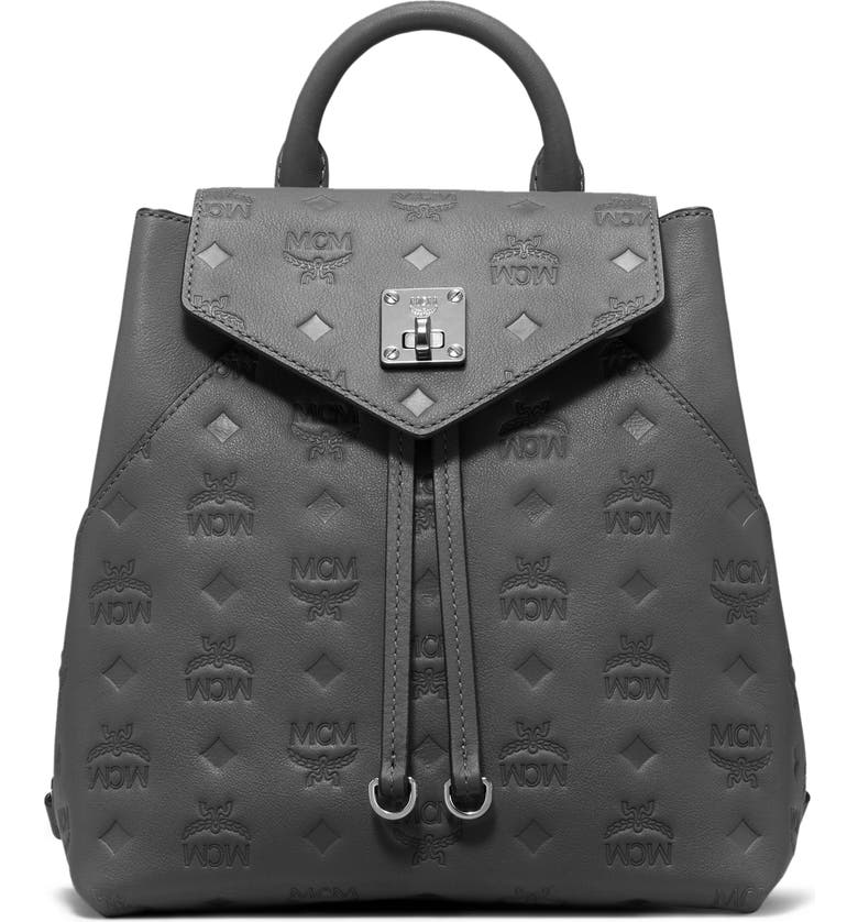 MCM Essential Monogram Leather Small Backpack, Main, color, CHARCOAL