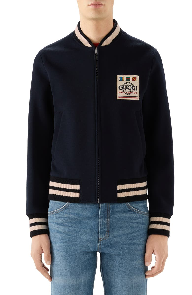 GUCCI Wool Blend Jersey Bomber Jacket, Main, color, BLUE