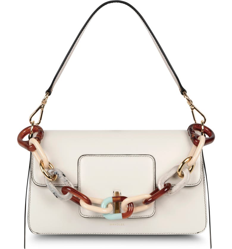 WANDLER Georgia Leather Shoulder Bag with Removable Resin Strap, Main, color, BUTTERCREAM