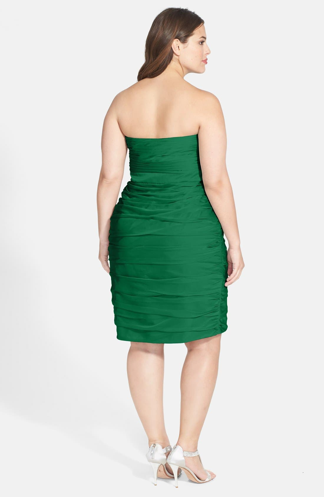 ,                             Ruched Strapless Cationic Chiffon Dress,                             Alternate thumbnail 32, color,                             305