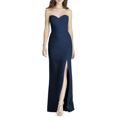After Six Strapless Crepe Trumpet Gown, Blue
