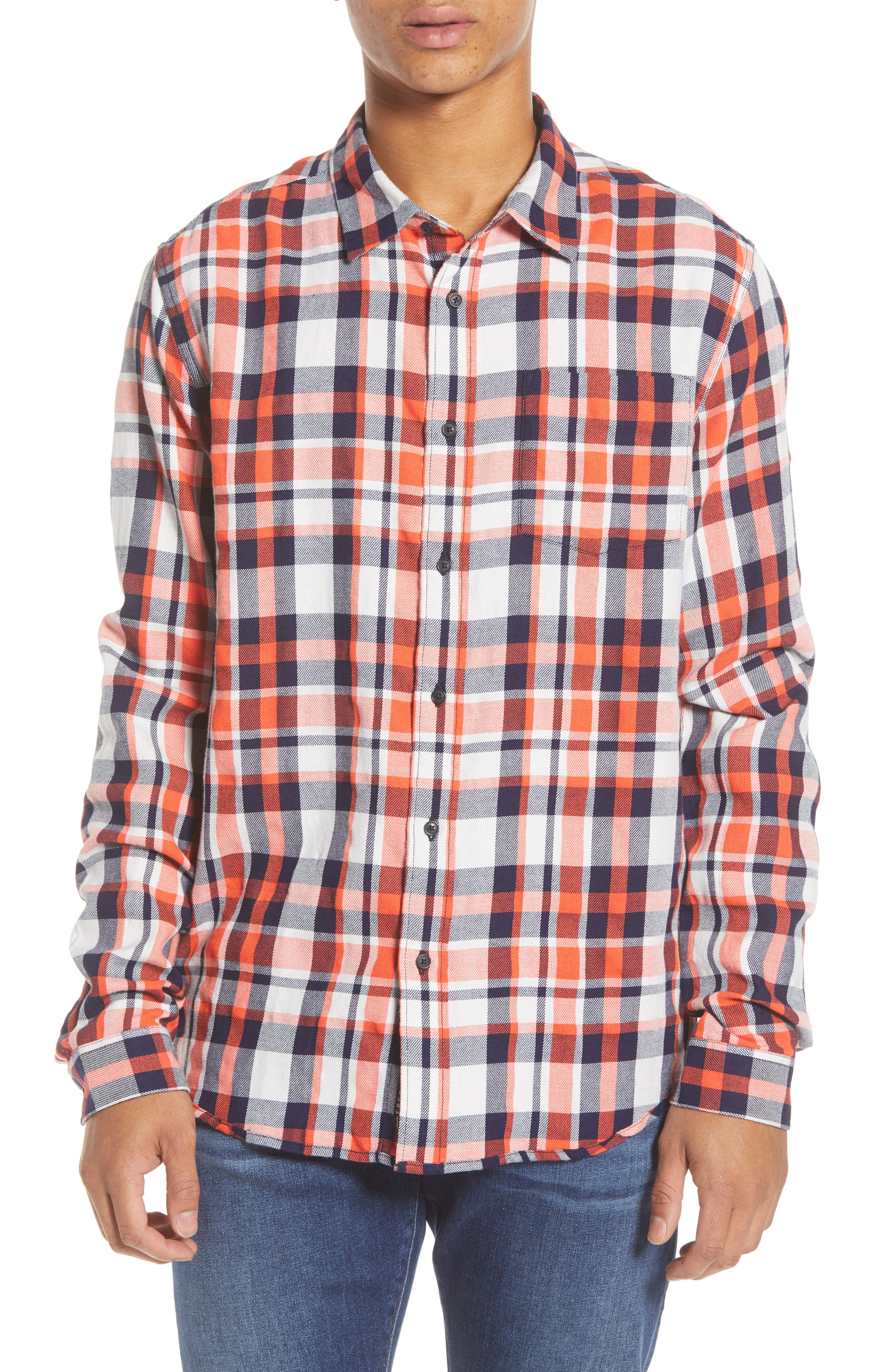 Scotch & Soda Plaid Button-Up Flannel Shirt, Red