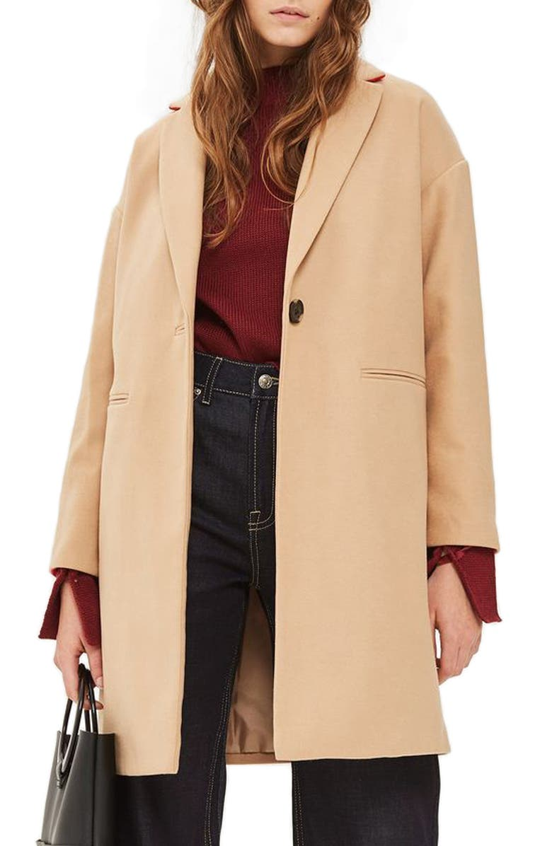 TOPSHOP Millie Relaxed Coat, Main, color, 252