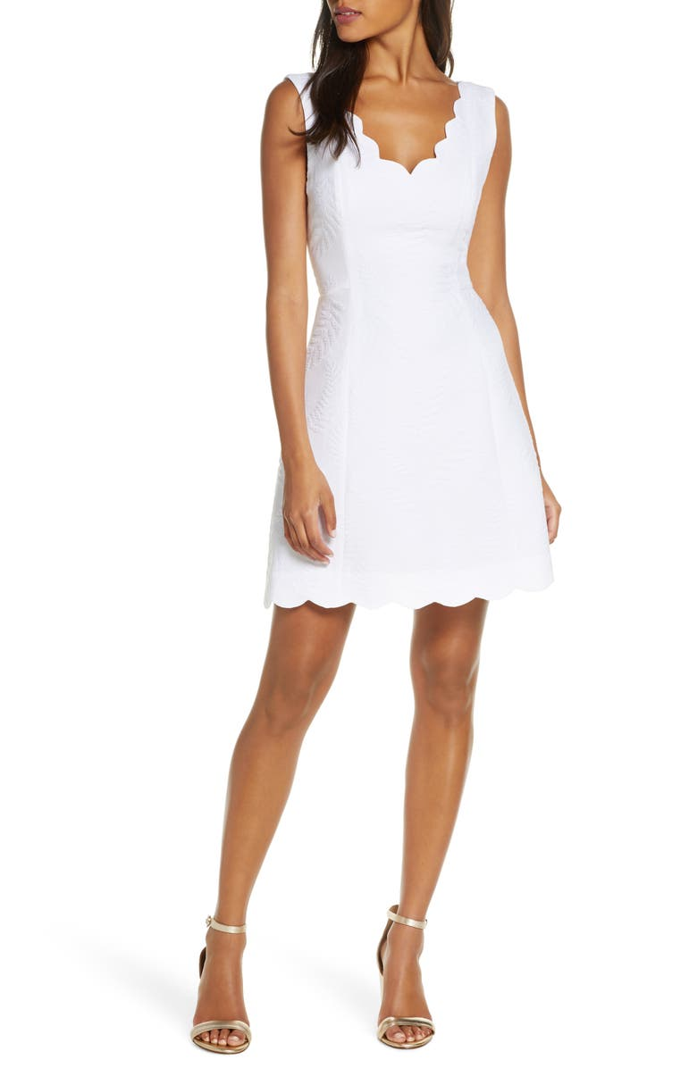 LILLY PULITZER<SUP>®</SUP> Sabeen Stretch Jacquard Fit & Flare Dress, Main, color, RESORT WHITE FERN JACQUARD