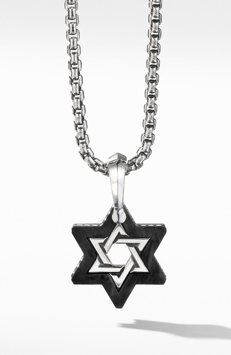 DAVID YURMAN Forged Carbon Star of David Amulet, Main, color, SILVER/ FORGED CARBON