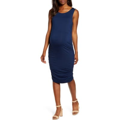 Angel Maternity Sleeveless Body-Con Maternity Dress, Blue