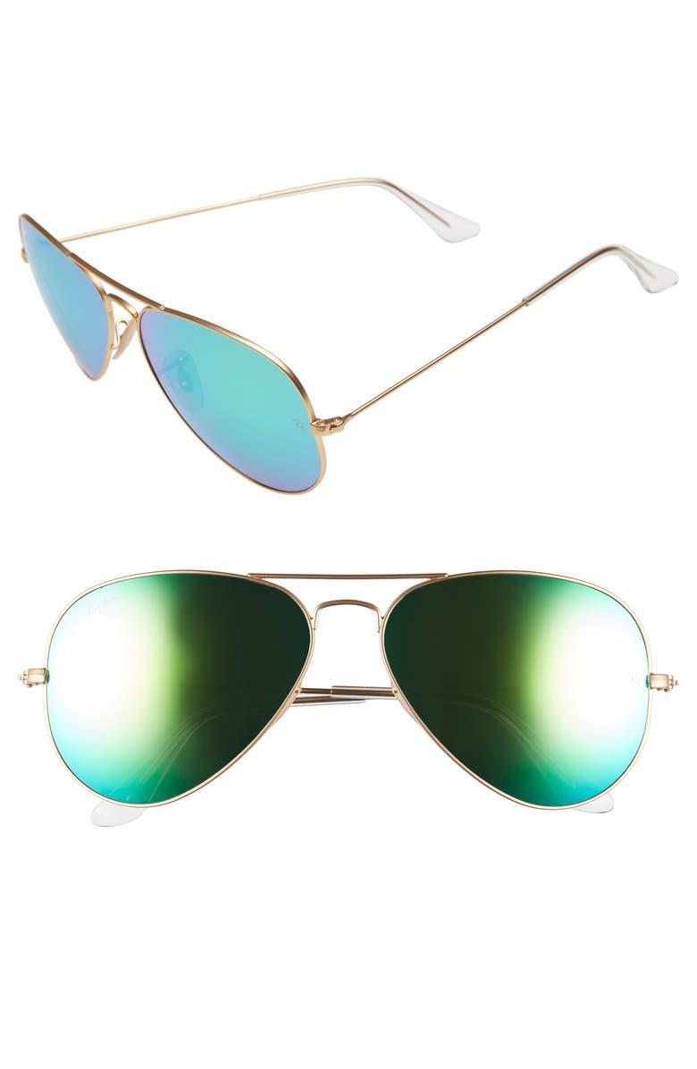 RAY-BAN Original Aviator 58mm Sunglasses, Main, color, GOLD/ GREEN MIRROR