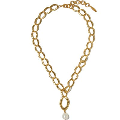 Sole Society Freshwater Pearl Pendant Hammered Chain Necklace