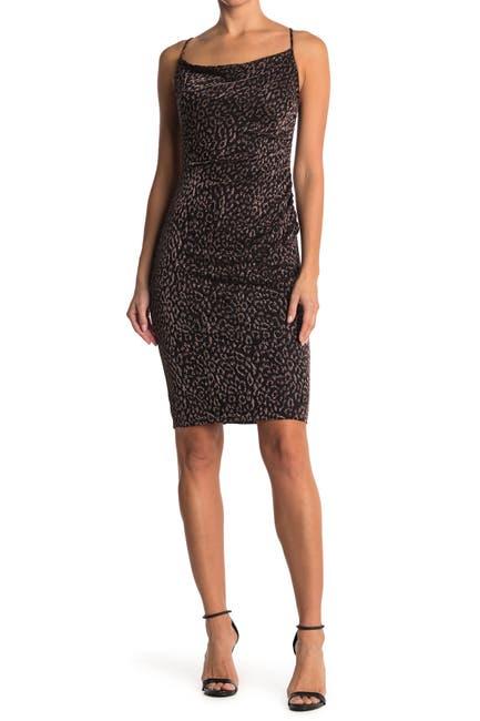 Image of Laundry By Shelli Segal Cowl Neck Leopard Print Slip Dress