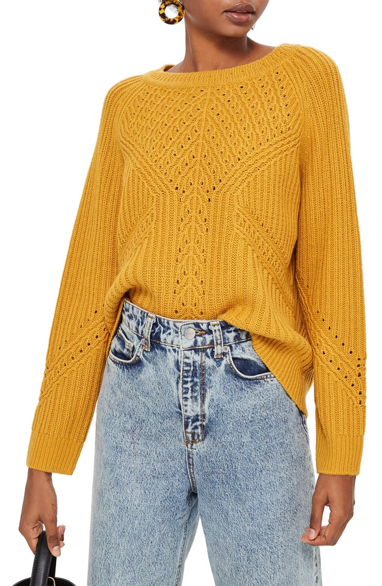 TOPSHOP Rib & Pointelle Stitch Sweater, Main, color, 701