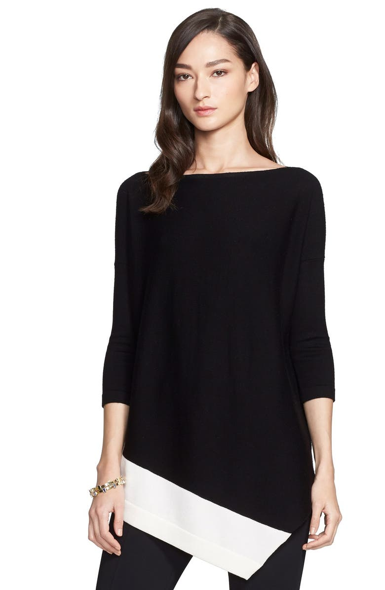 ST. JOHN COLLECTION Asymmetrical Merino Wool Sweater, Main, color, 001