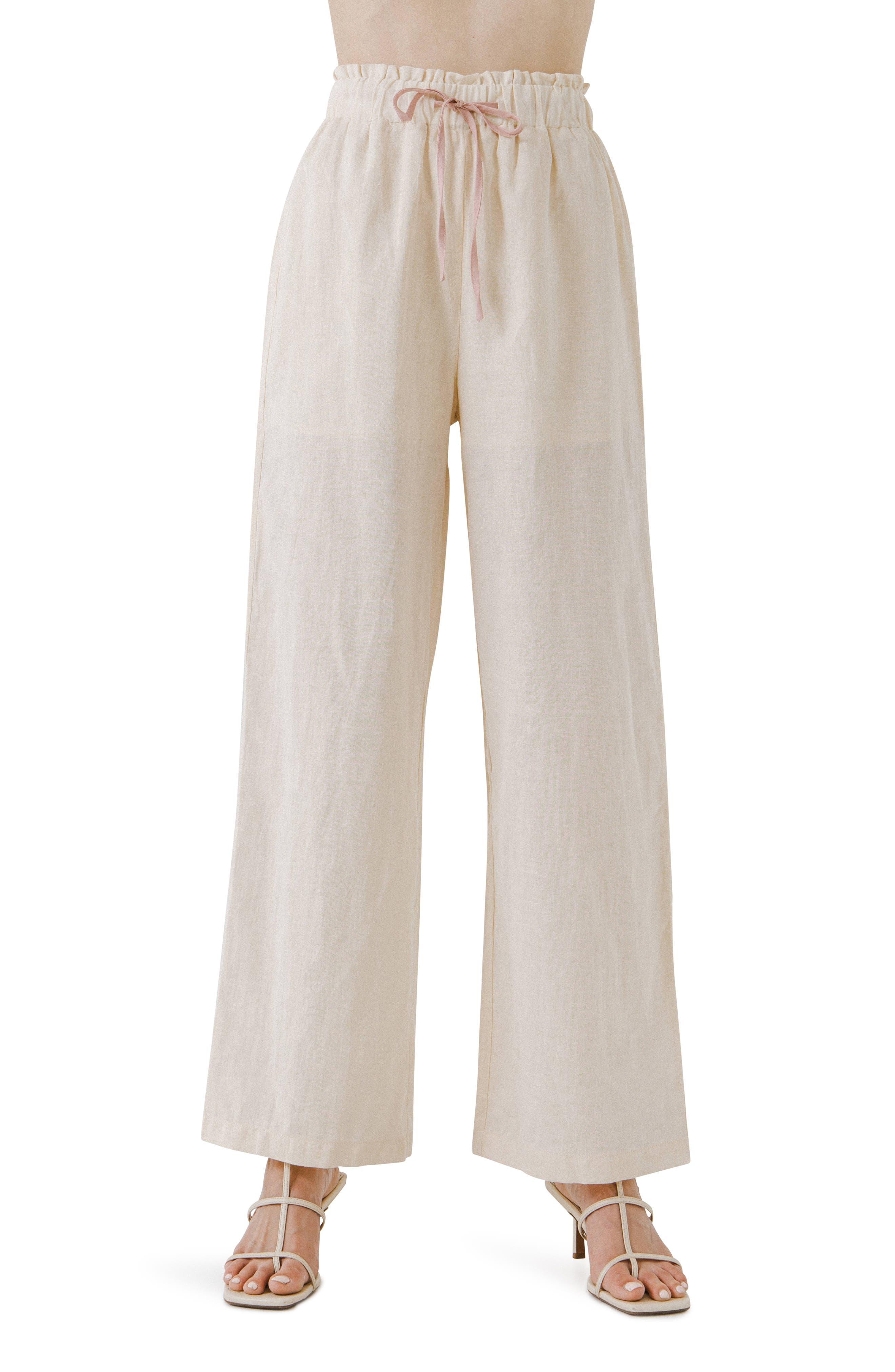 Linen & Cotton Wide Leg Pants