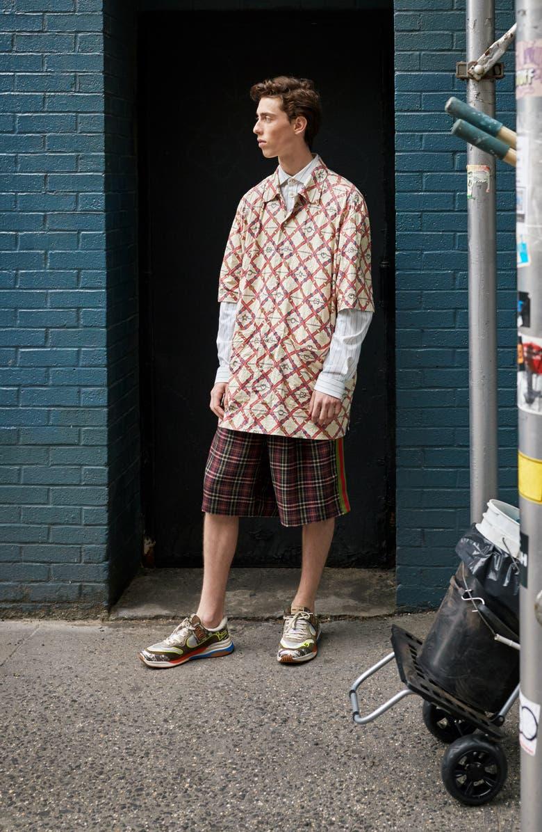 GUCCI Belt Check Longline Button-Up Camp Shirt, Main, color, 135