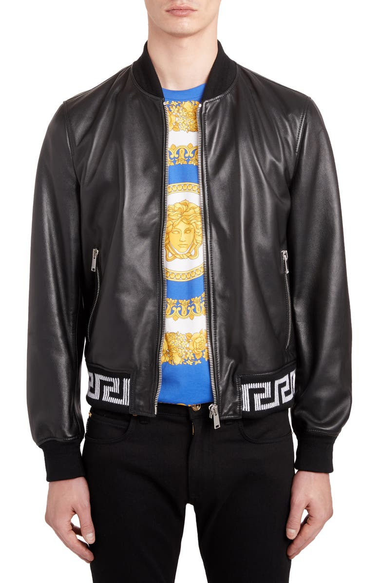 VERSACE Leather Bomber Jacket, Main, color, BLACK