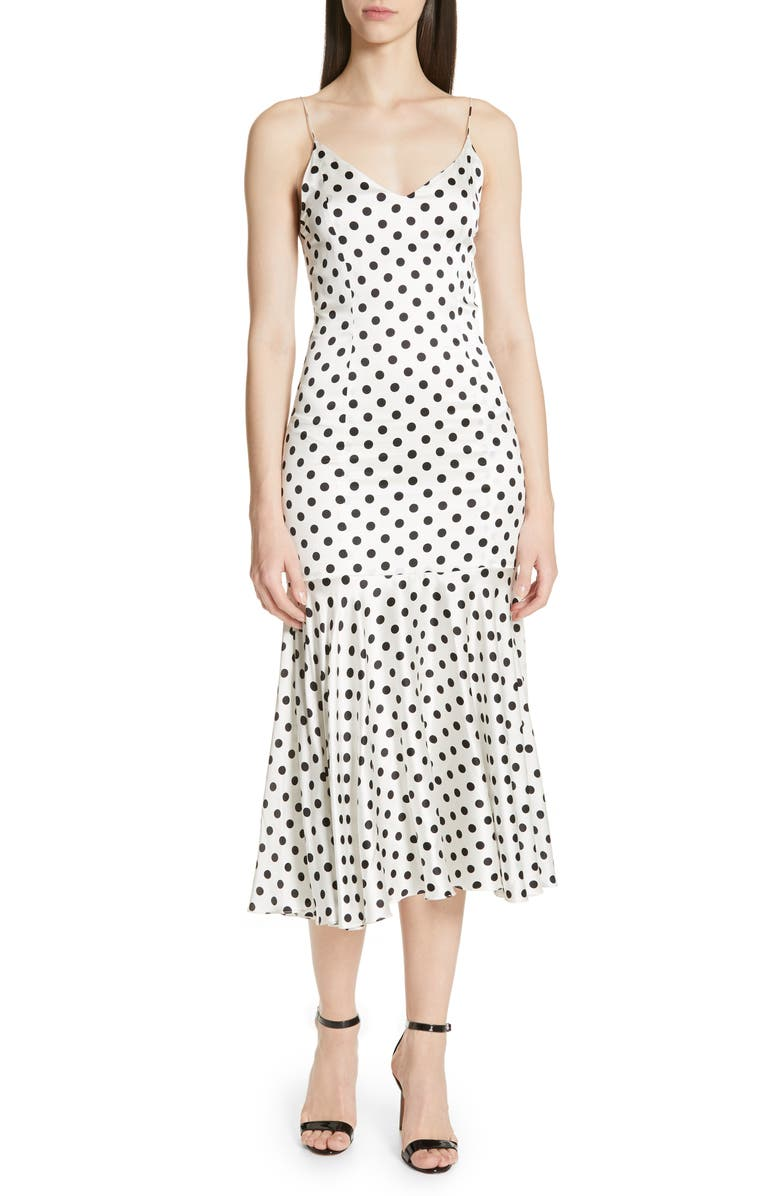 CAROLINE CONSTAS Kai Polka Dot Silk Mermaid Slipdress, Main, color, 119