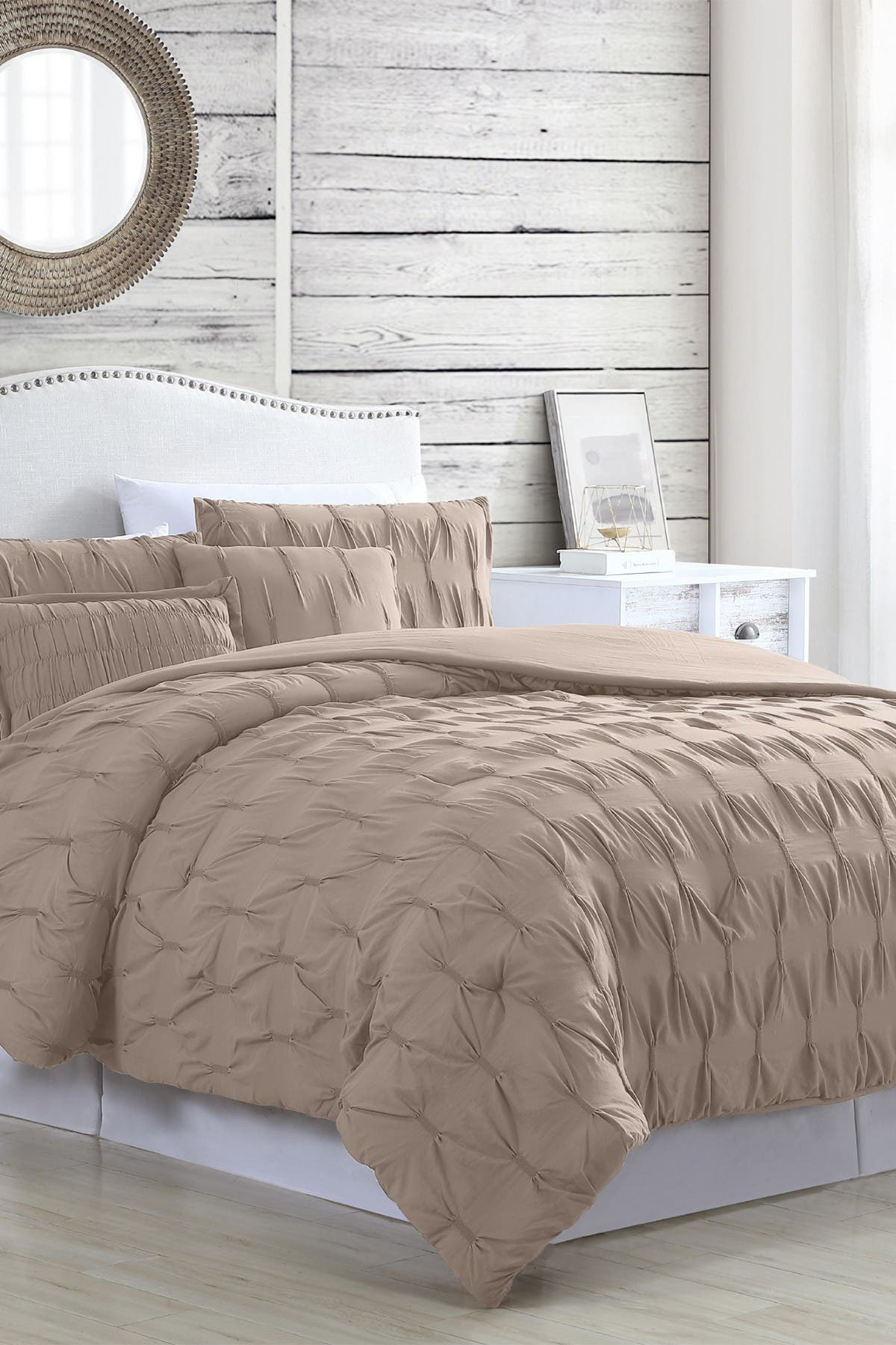 Modern Threads 5 Piece Textured Comforter Set Harper Taupe King Hautelook