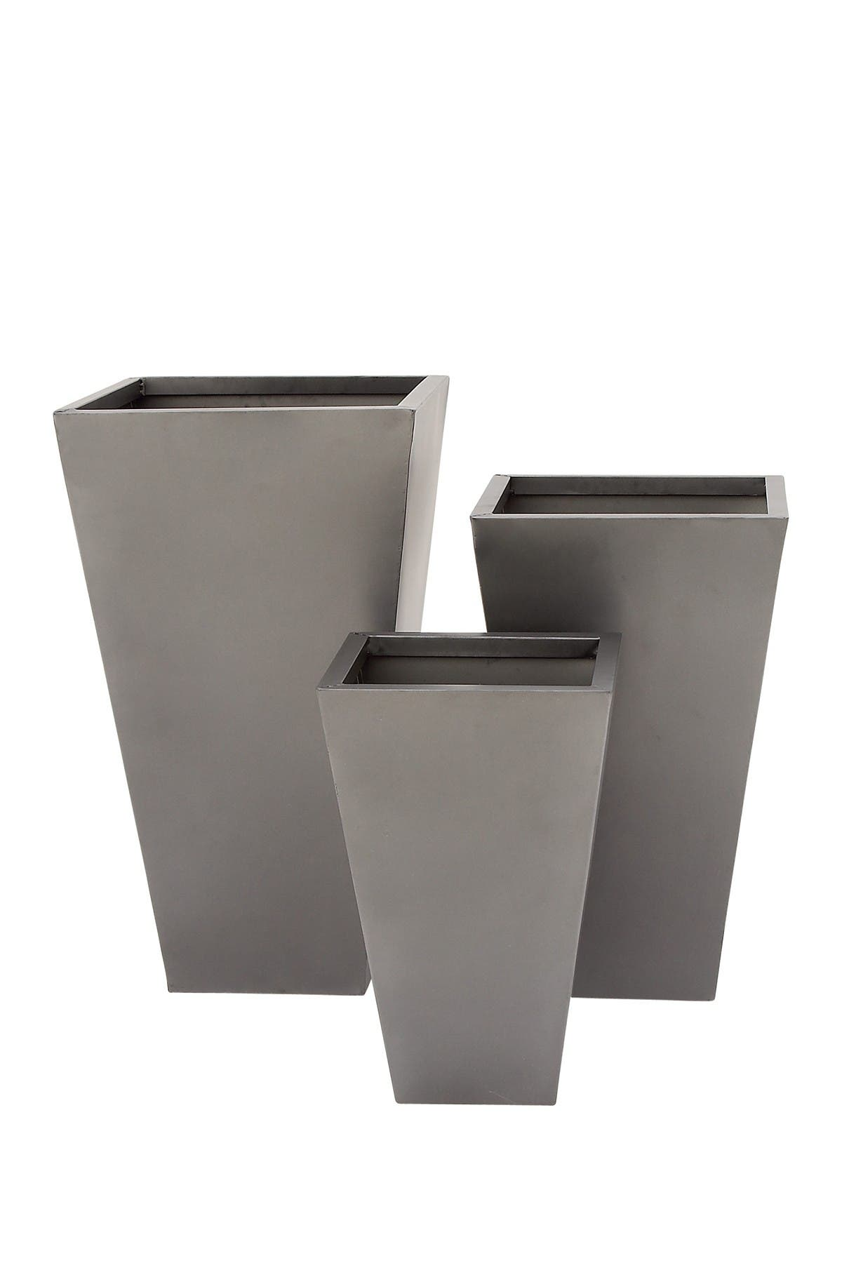 Image of Willow Row Grey Metal Tapered Square Contemporary Planter - Set of 3