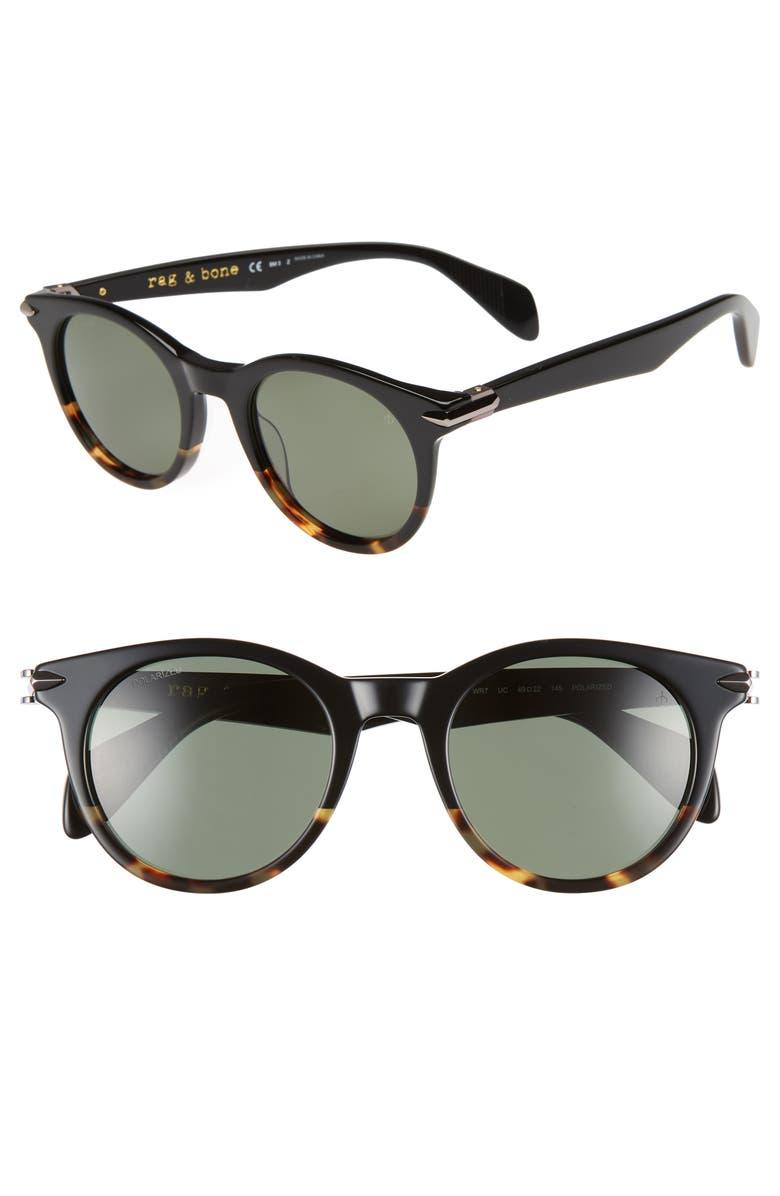 RAG & BONE 49mm Polarized Round Sunglasses, Main, color, BLACK HAVANA