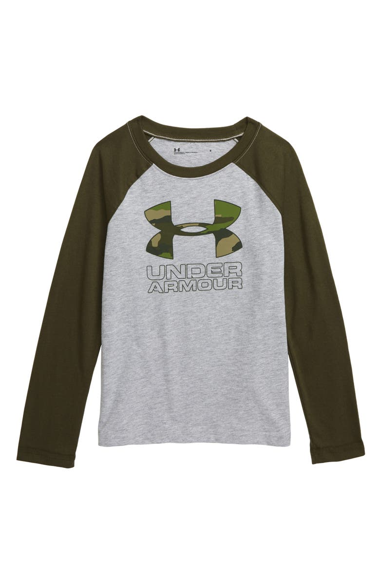UNDER ARMOUR Bandit Camo Raglan T-Shirt, Main, color, MOD GRAY HEATHER