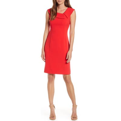 Harper Rose Envelope Collar Crepe Sheath Dress, Red