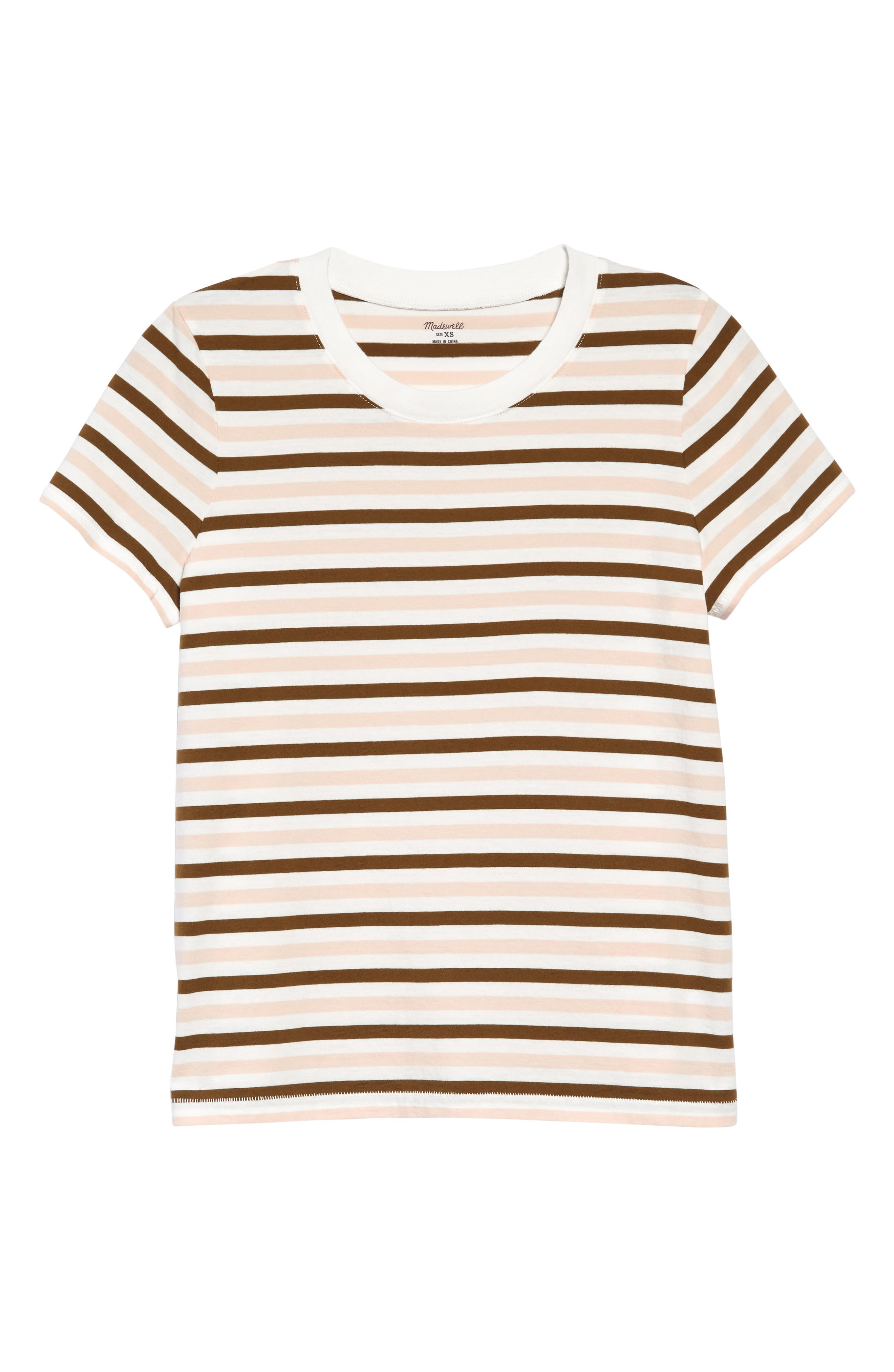 70s Clothes | Hippie Clothes & Outfits Madewell Northside Vintage Stripe T-Shirt - Doberman Stripe Peach Blush at Nordstrom Rack $12.97 AT vintagedancer.com