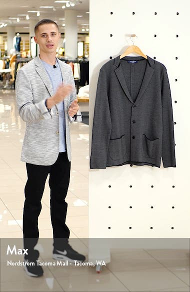 Herringbone Wool Blend Knit Blazer, sales video thumbnail