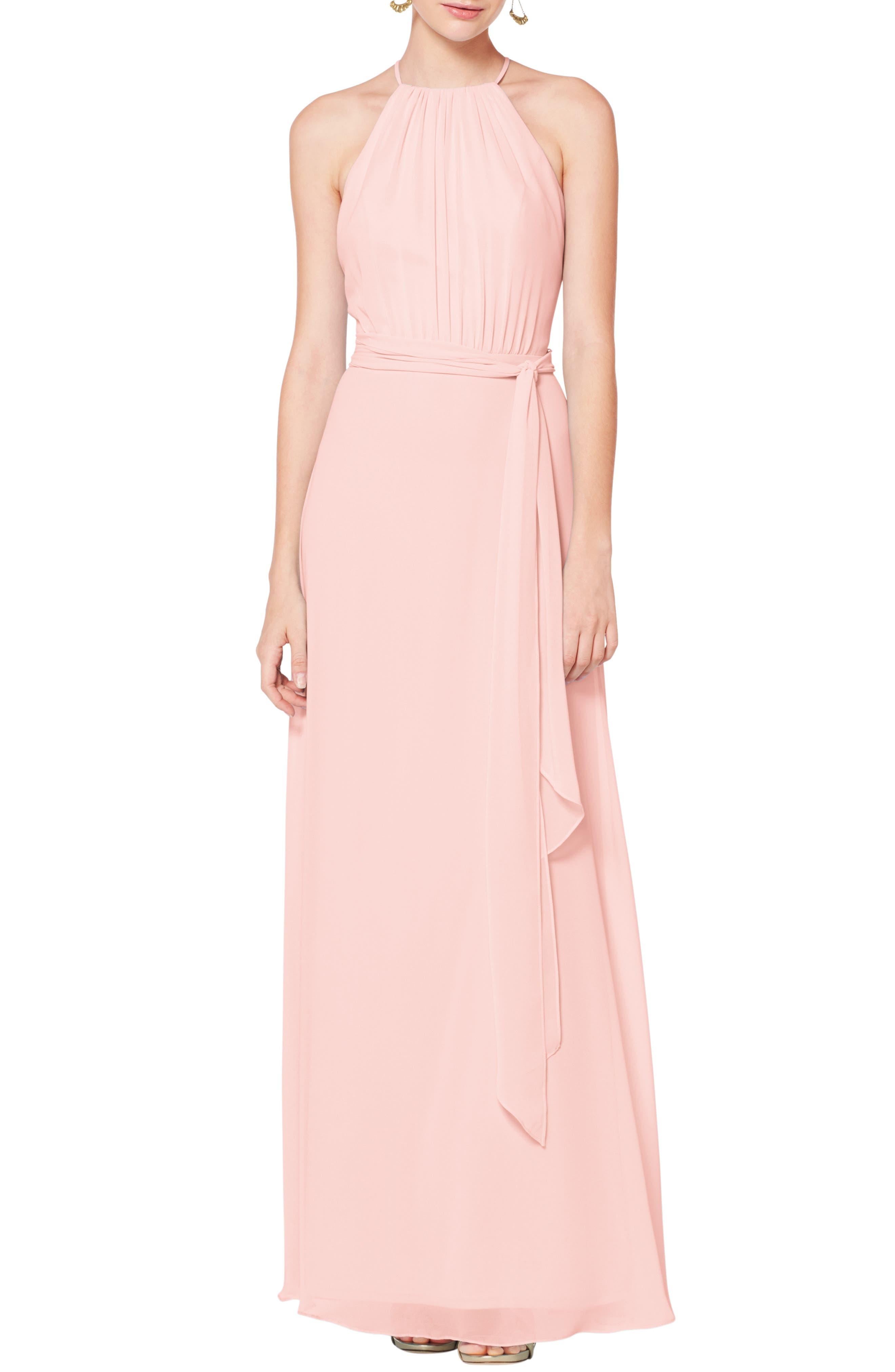 #levkoff Halter Neck Tie Detail Chiffon Gown, Pink