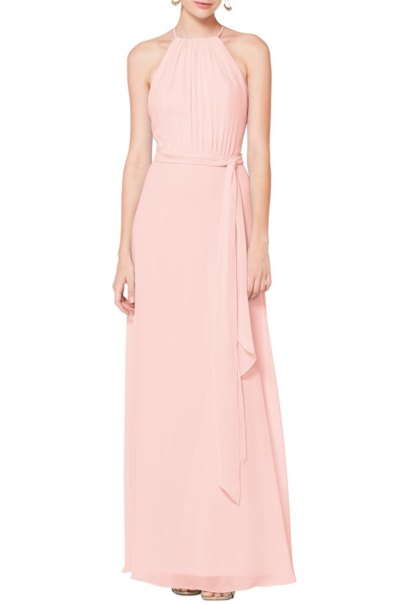 #LEVKOFF Halter Neck Tie Detail Chiffon Gown, Main, color, PETAL PINK