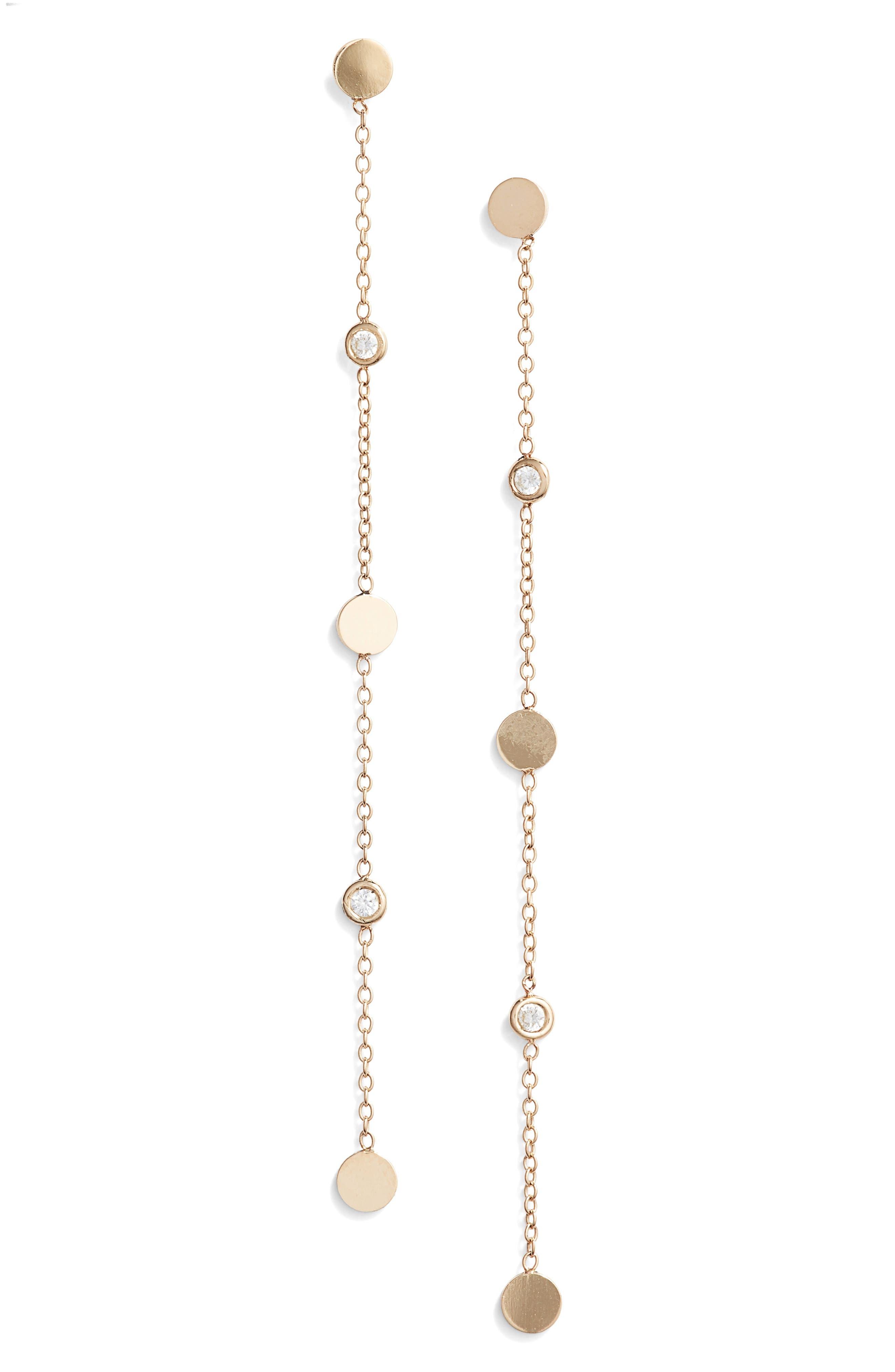 Zoe Chicco Linear Diamond Chain Earrings