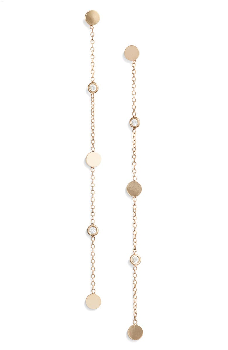 ZOË CHICCO Linear Diamond Chain Earrings, Main, color, 710