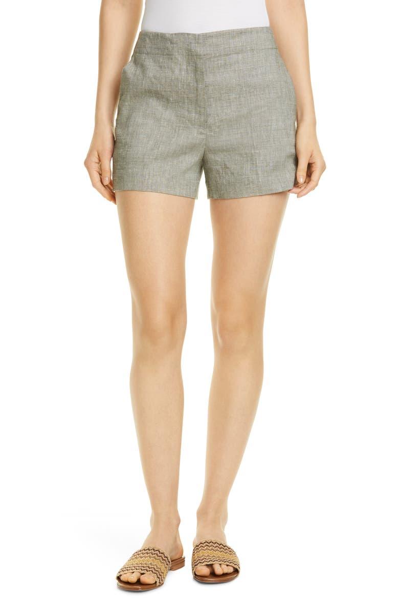 THEORY Linen Blend Shorts, Main, color, CARGO MELANGE