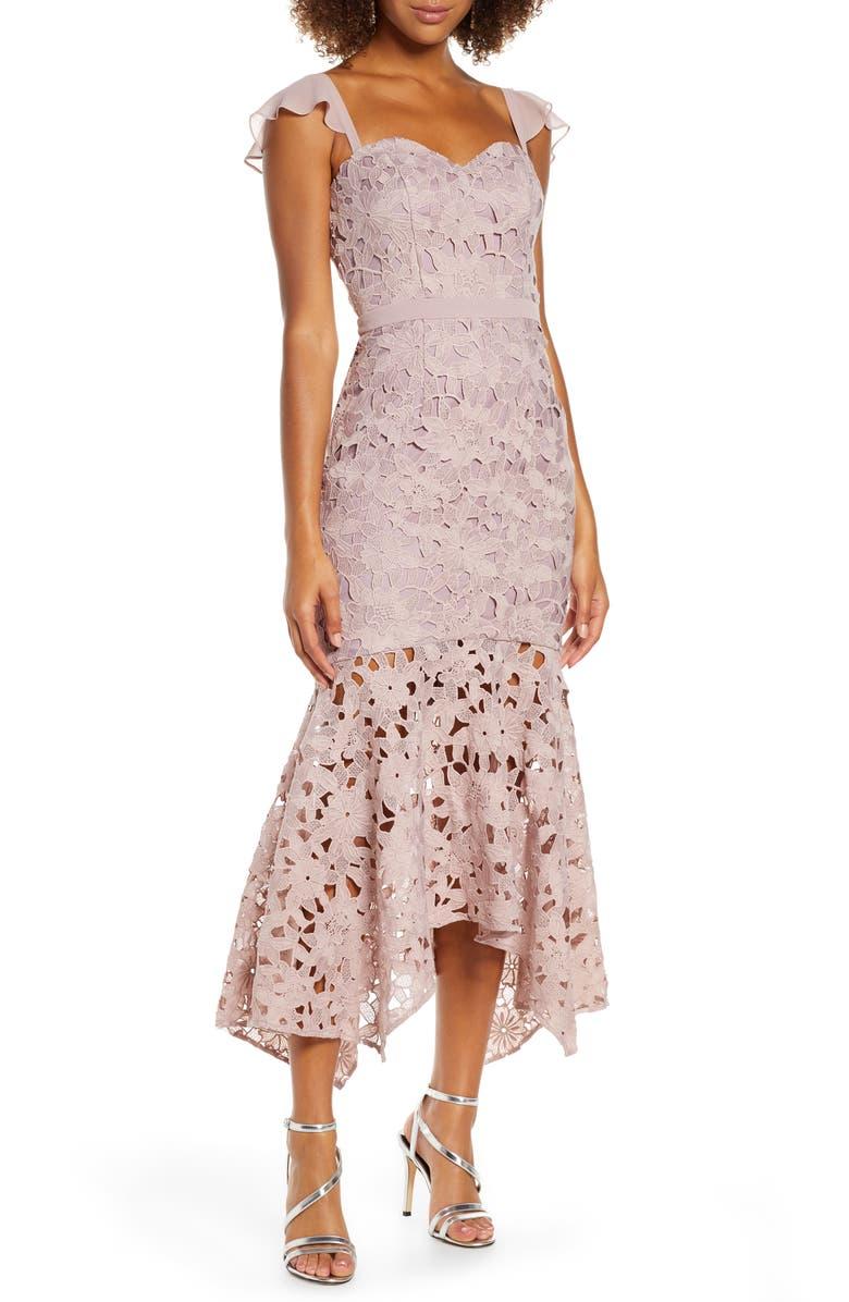 CHI CHI LONDON Ramona Lace Mermaid Dress, Main, color, 663