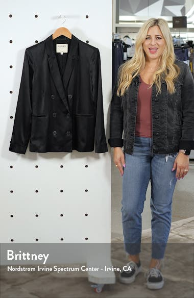 Colin Silk Satin Double Breasted Blazer, sales video thumbnail