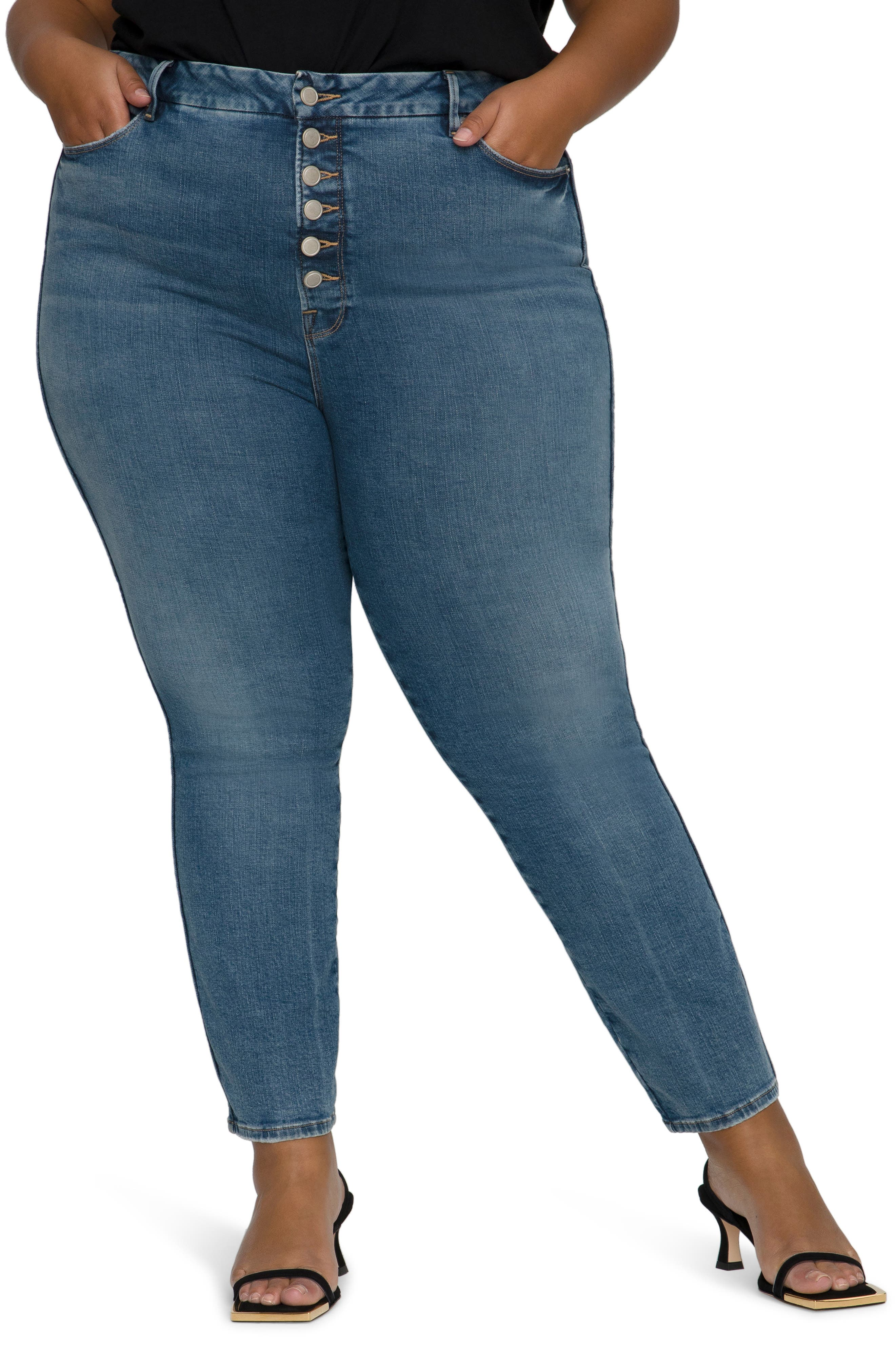 Good Curve Exposed Button High Waist Skinny Jeans