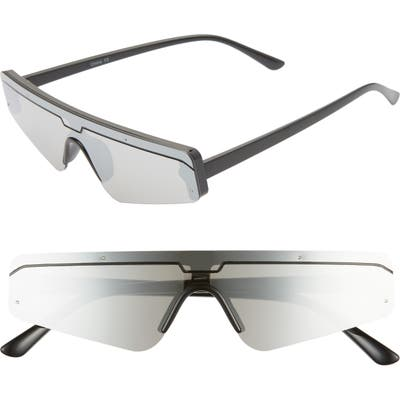 Rad + Refined Cyberfunk Sport Flat Top Shield Sunglasses - Black/ Silver Lens