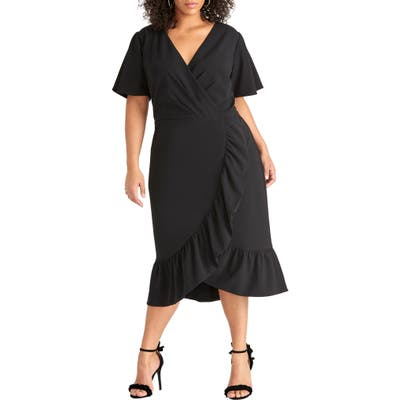 Plus Size Rachel Rachel Roy Scuba Crepe Faux Wrap Dress, Black