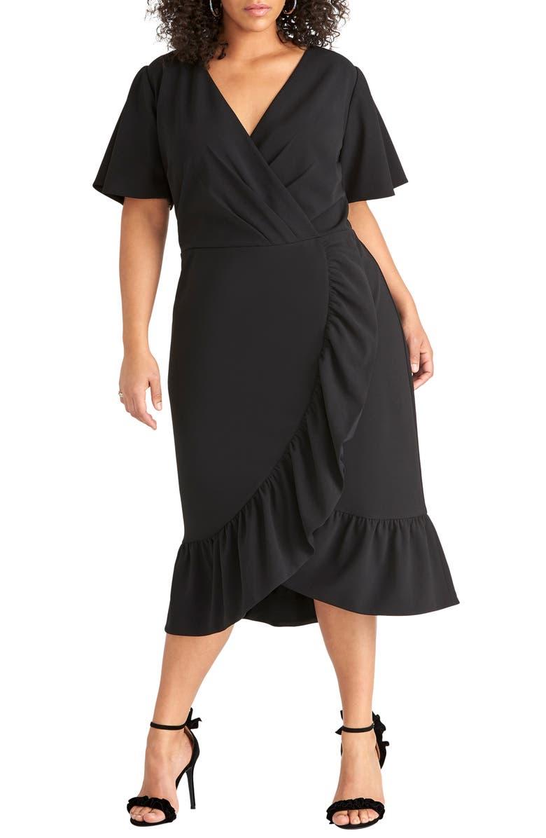 RACHEL Rachel Roy Scuba Crepe Faux Wrap Dress (Plus Size ...